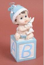 "8.25"" BABY BOY SITTING ON THE BLOCK BLUE"