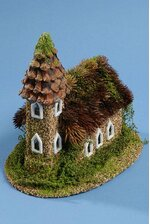 """10"""" X 9"""" NATURAL CHURCH W/THISTLE ROOF BROWN/GREEN"""
