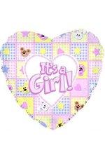 """18"""" FOIL BALLOON IT'S A GIRL BEARS & BUNNIES PINK PKG/10"""