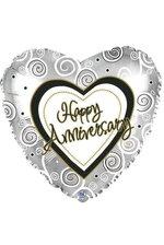 "18"" HEART FOIL BALLOON HAPPY ANNIVERSARY PKG/10"