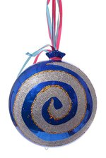 "8"" CANDY ORNAMENT W/GLITTER BLUE/SILVER"