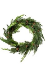 """24"""" JUST CUT PLAS WOODLAND PINES WREATH NATURAL/FROSTED"""