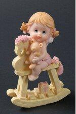 """6.5"""" CERAMIC BABY GIRL W/ROCKING HORSE PINK"""