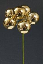 40MM PLASTIC SHINY BALL STEM GOLD PKG/6