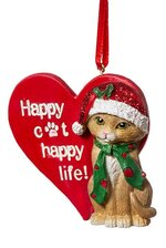 "3"" RSN HAPPY CAT ORNAMENT RED/GREEN"