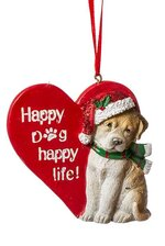 """3"""" RSN HAPPY DOG ORNAMENT RED/GREEN"""