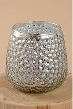 """3"""" X 4"""" MERCURY GLASS CANDLE HOLDER SILVER"""