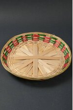 """14.5"""" ROUND BAMBOO BASKETS NATURAL/RED/GREEN"""