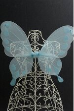 """20"""" NYLON BUTTERFLY WINGS WITH ELASTIC LIGHT BLUE"""