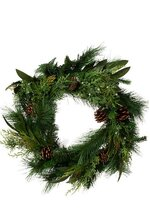 "23""JUNIPER/CEDAR WREATH PINE/BAYLEAF/CONE NATURAL"