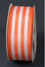 "1.5"" X 10YDS WIRED TUTI FRUITI STRIPES RIBBON ORANGE/WHITE"