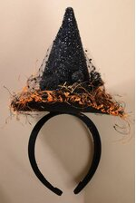 WITCH HAT HEADBAND BLACK/ORANGE