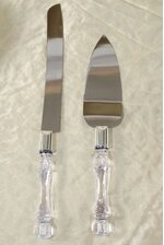 CAKE KNIFE SET W/ACRYLIC HANDLE CLEAR