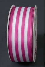 """1.5"""" X 10YDS WIRED TUTI FRUITI STRIPES RIBBON ORCHID/WHITE"""