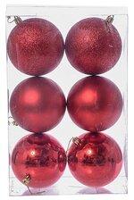 100MM SHINY/MATTE/GLITTER PLASTIC BALL RED PKG/6