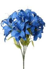 "18"" SILK TIGER LILY BUSH X11 ROYAL BLUE"