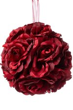 """5"""" ROSE KISSING BALL RED"""