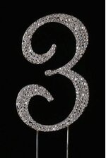 "4.5"" RHINESTONE NUMBER ""3"" CAKE TOPPER SILVER"