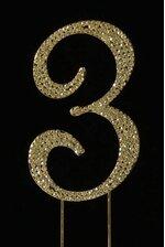"4.5"" RHINESTONE NUMBER ""3"" CAKE TOPPER GOLD"