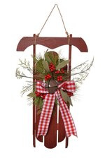 """17"""" Wooden Sleigh w/ Pine/Bell - Red"""