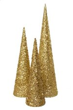 "15/18/24"" TREE W/GLITTER/SEQUIN/DIAMOND GOLD SET/3"