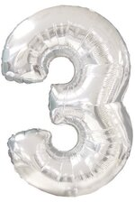 """42"""" NUMBER THREE SHAPE-A-LOON SILVER"""