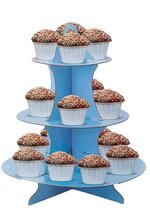 """11.75"""" X 14"""" CAKE STAND 3 TIER BLUE"""