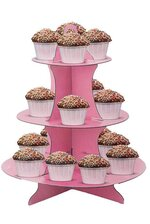 """11.75"""" X 14"""" CAKE STAND 3 TIER PINK"""