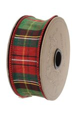 """1.5"""" X 10YDS WIRED FAUX DUPION TRADITION TARTAN RED/KELLY GREEN"""