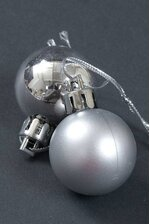30MM SHINY & MATTE PLASTIC BALL ORNAMENT SILVER PKG/24