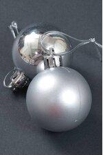 40MM SHINY & MATTE PLASTIC BALL ORNAMENT SILVER PKG/12
