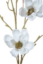 "27.5"" SILK MAGNOLIA FLOWER STEM WHITE"