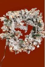 "24"" LIGHT FLAKE VAIL WREATH GREEN/WHITE/CLEAR LIGHT BULBS"