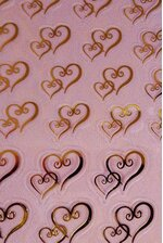 DOUBLE GOLD HEART FAVOR STICKER PKG/106