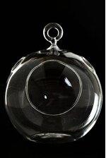 "4.75"" HANGING CANDLE HOLDER ROUND GLASS TERRARIUM PKG/6"