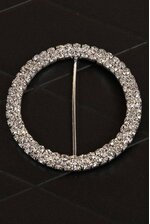 """3.35"""" ROUND RIBBON BUTTON SILVER/CRYSTAL"""