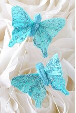 """1.5"""" BUTTERFLY TURQUOISE PKG/12"""