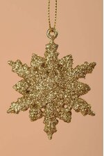 "2.5"" GLITTER SNOW FLAKE ORNAMENT GOLD PKG/12"