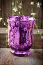 "4"" MERCURY GLASS CANDLE HOLDER PURPLE"