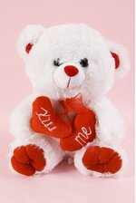"""9.5"""" TEDDY BEAR W/RED HEART """"KISS ME"""" WHITE/RED"""