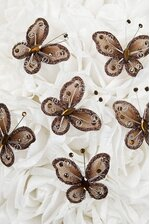 """2"""" WIRED DECORATION BUTTERFLY BROWN PKG/20"""