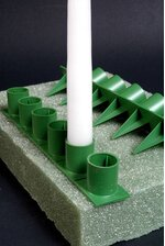 1'' HANDY HOLD POINT CANDLE HOLDERS GREEN PKG/36