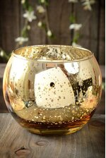 """3.5"""" MERCURY GLASS CANDLE HOLDER GOLD"""