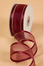SHEER SATIN W/GOLD TRIM RIBBON - BURGUNDY #10