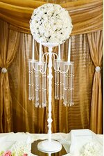 "42"" METAL CANDLE HOLDER W/BEADS SHINY WHITE"