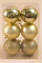 80MM SHINY/MATT/GLITTER BALL GOLD PKG/6