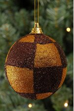 80MM GLITTER BALL WINE/GOLD PKG/6