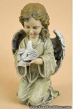 """11.5"""" KNEELING ANGEL WITH BIRD"""