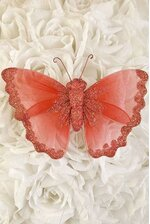 """6"""" SHEER BUTTERFLY RED"""