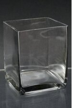 """4"""" X 4"""" X 5"""" GLASS SQUARED VASE CLEAR"""